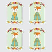Fox Girl In Flower Frames For Gift Tag vector