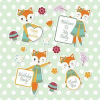 fox bonito e flores para conjunto de etiqueta