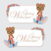urso menina e flor fronteira vetor