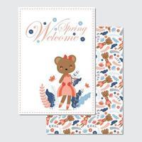 bem-vindo cartão primavera com urso vetor