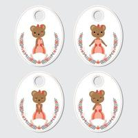 Bear And Flower Wreath Gift Tag Set