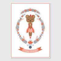 oso niña en guirnalda de flores para tarjeta de cumpleaños vector