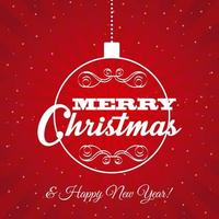 Red Christmas and New Year Greeting vector