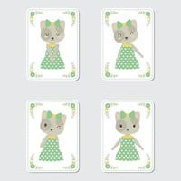 Cat And Flower Frames For Gift Tag vector