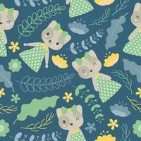 gato e flores em padrão de fundo azul