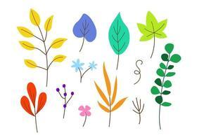 Sammlung von bunten Blättern in verschiedenen Formen