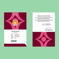 plantilla de diseño de tarjeta de identificación de formas en negrita rosa roja