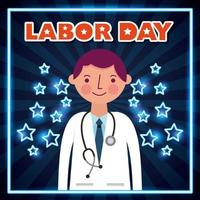 cartel del día del trabajo con el médico