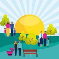 familias de pie en el soleado parque al aire libre