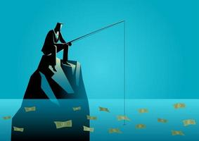 Businessman Silhouette Fishing for Money vector