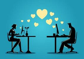 Silhouette of Man and Woman Chatting Online