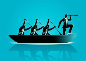 Businessman Silhouette and Team Rowing Boat vector