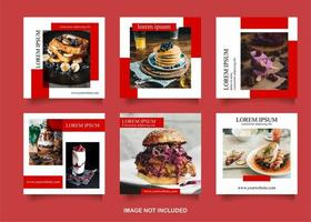 Food Social Media Post Set in White and Red vector