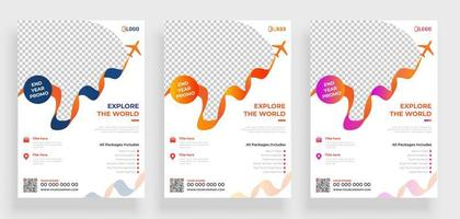 Ribbon Airplane Travel Flyer Template  vector