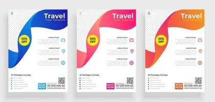 Set of Colorful Ribbon Travel Flyer Templates vector