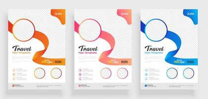 White Travel Flyer Set with Round Frame and Ribbon   vector