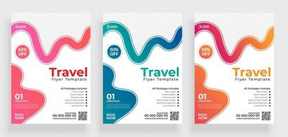 Set of Travel Flyer Template with Colorful Curves vector