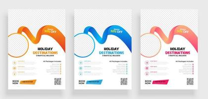 Set of Travel Flyer Design Template with Circle Frame vector