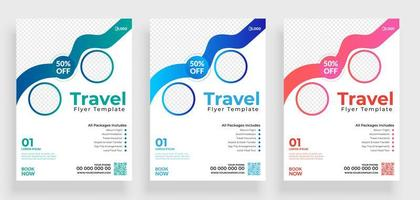 White Travel Flyer Set with Two Round Frames  vector