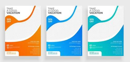 Gradient Curve Travel Flyer Template Design vector
