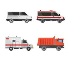 Means of transport set on a white background vector