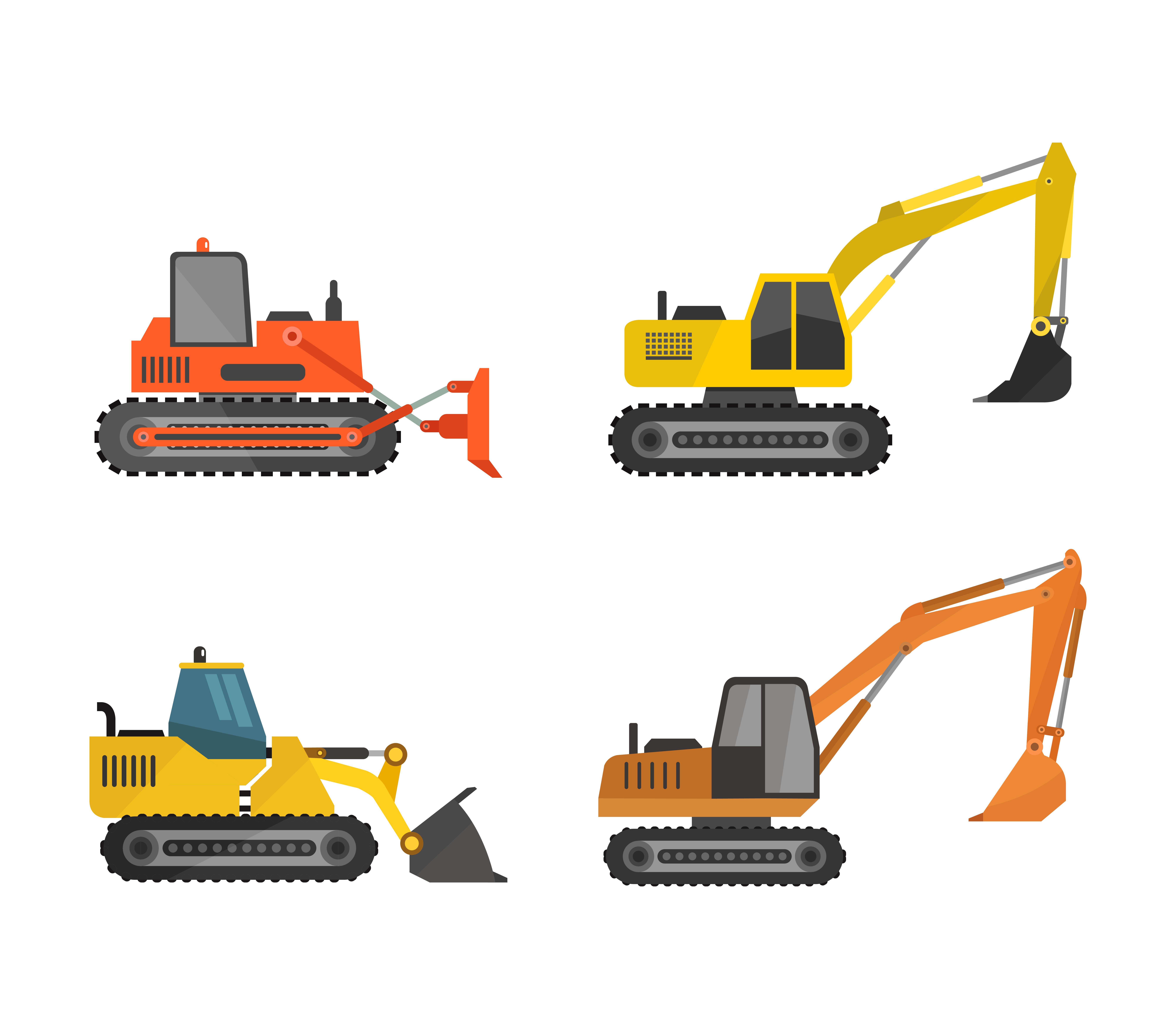 Excavator Set On White Background Download Free Vectors