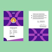 plantilla de tarjeta de identificación púrpura de diseño de medio círculo