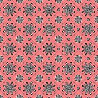 Seamless pattern of geometric floral designs on red