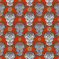 Seamless sugar skull pattern on red vector