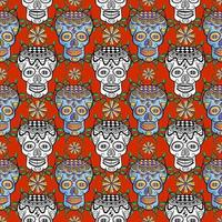 Seamless sugar skull pattern on red