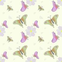 Flying butterfly and flower seamless pattern vector