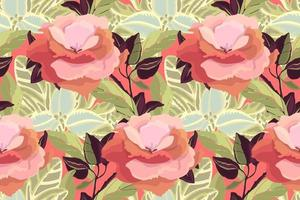 Painted Floral Seamless Pattern. Garden Flowers. vector