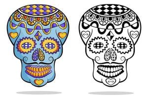 Set of Mexican sugar skulls with mustache  vector