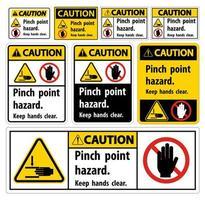 insieme del segno di avvertenza di pericolo del punto di pizzico