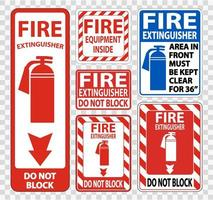 Fire Extinguisher Sign Symbol Sign Set vector