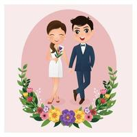 Bride and Groom in Circle Frame with Flowers