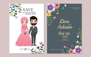 Save the Date Card with Couple and Flowers