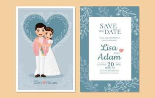 Blue Save the Date Card with Foliage