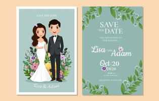Save the Date with Couple in Front of Flowers