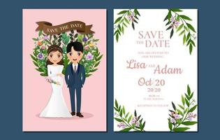 Pink Save the Date with Couple in Front of Flowers
