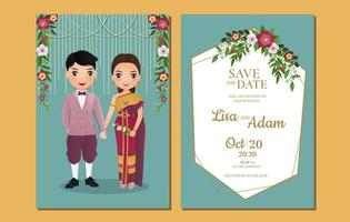 Thai Couple and Decorations on Save The Date Card