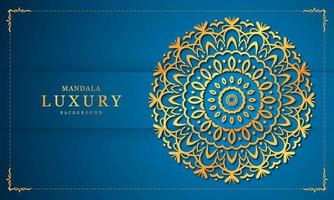 Gold and Blue Luxury Mandala Background Design vector