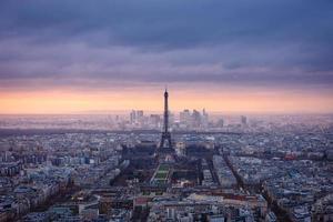Aerial view of Paris at dusk photo