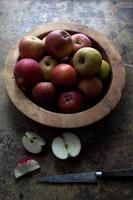 wooden bowl of red apples photo