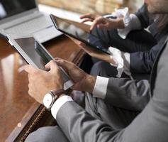 business team and tablet computer