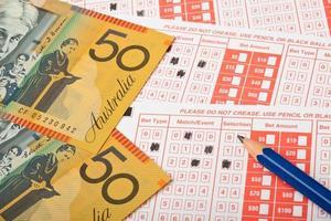 recibo de apuestas deportivas y de dinero australiano foto