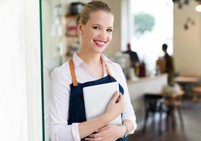 Small business owner in cafe