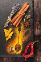 Cardamom, cinnamon, hot chili, turmeric and star anise. Spices
