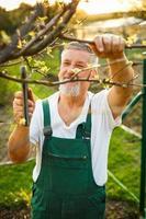 senior tuinman in zijn tuin
