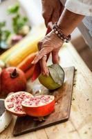 Preparing fruit salad